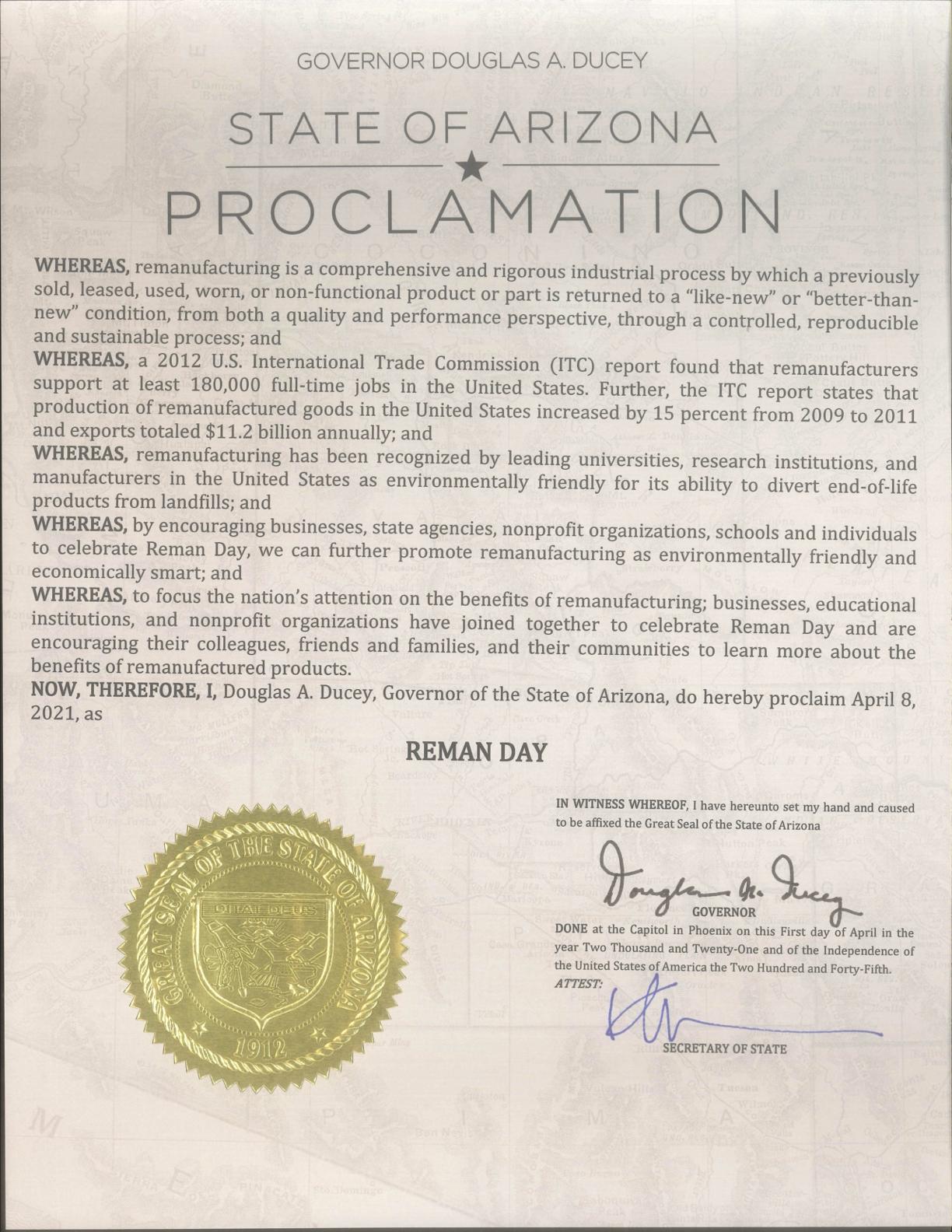 Arizona Proclamation