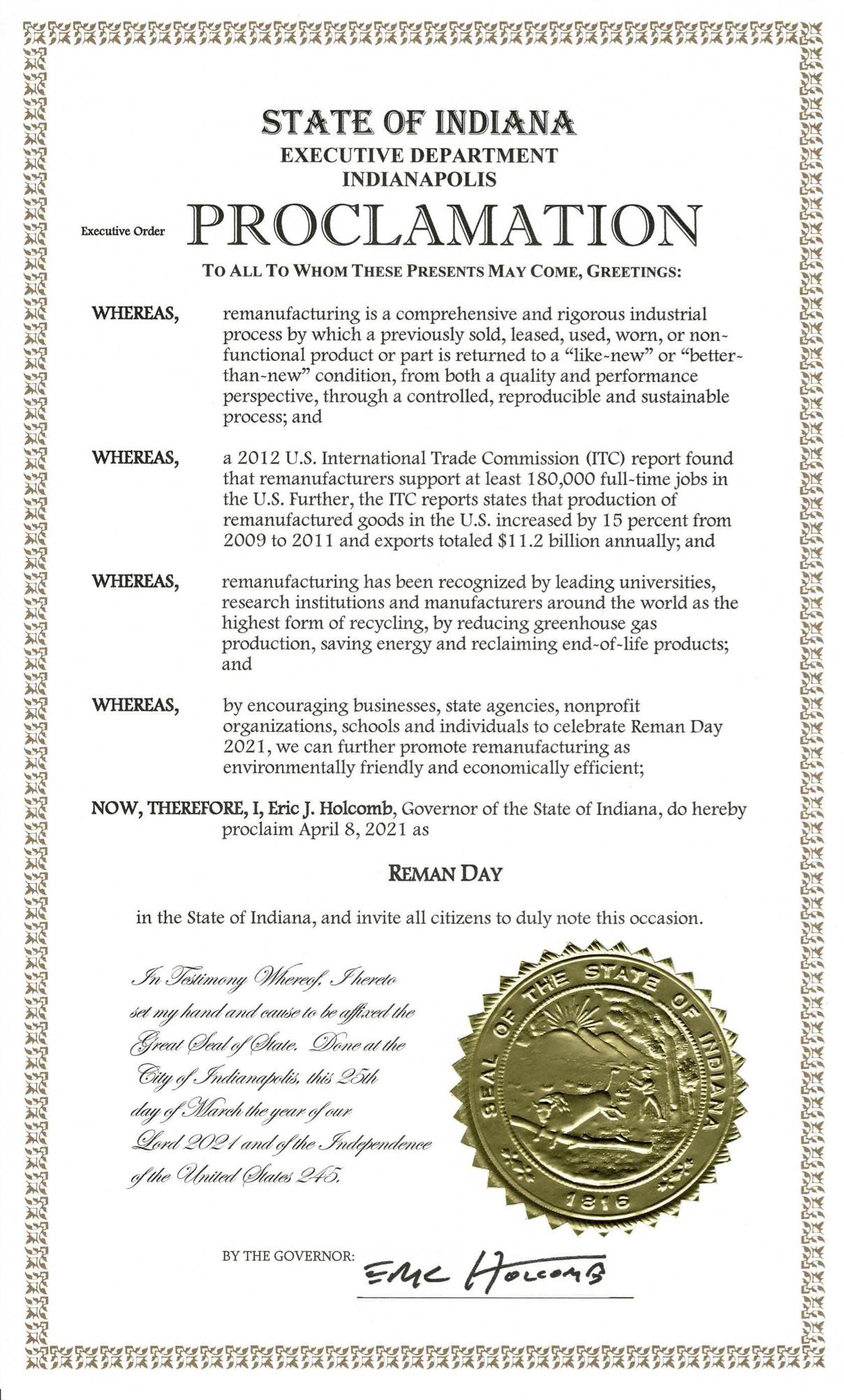 Indiana Proclamation