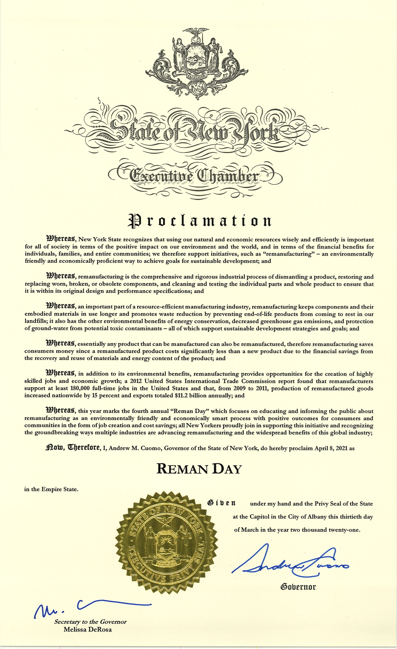 New York Proclamation